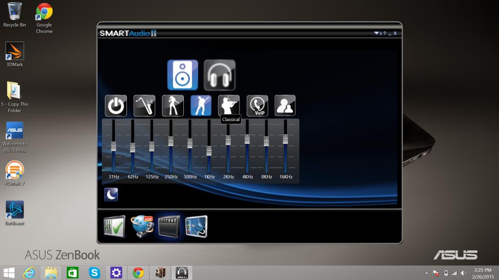Интерфейс ASUS ZenBook UX305