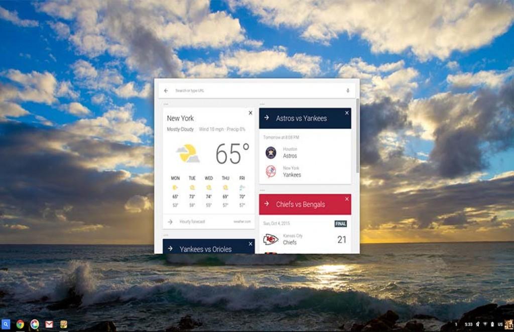 Интерфейс Chrome OS на Toshiba Chromebook 2