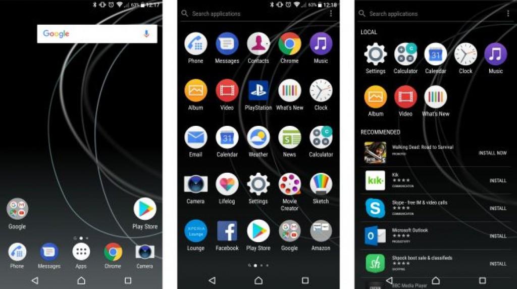 Интерфейс Sony Xpreia XZ Premium