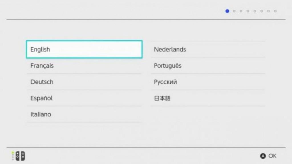 Выбор языка Nintendo Switch