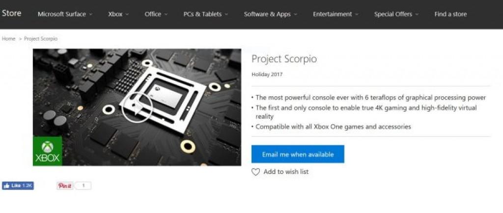 Предварительный заказ Xbox Scorpio