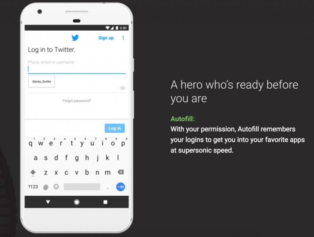 Android 8.0 Oreo - Автоматическое заполнение