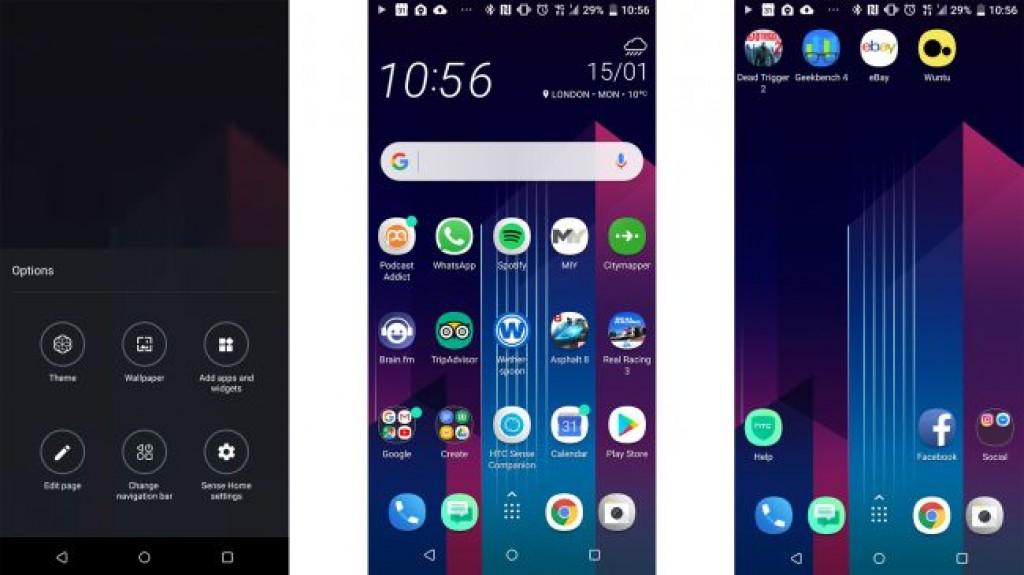 Интерфейс HTC U11 Plus