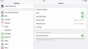 Настройки камеры в iOS